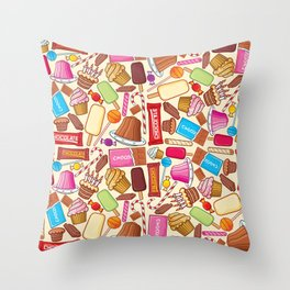 sweets seamless pattern (lollipop, candy cane, pudding in dish, birthday cake with candles) Throw Pillow