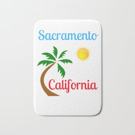 Sacramento California Palm Tree and Sun Bath Mat