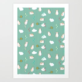 Chubby Kitty Pattern Art Print