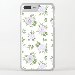 Botanical lavender white green watercolor floral Clear iPhone Case