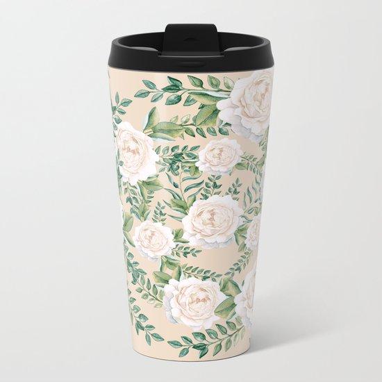 Garden Roses Mandala Pink Green Cream Metal Travel Mug