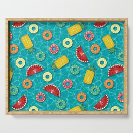 Fruit Salad Pool Floats Pattern – Turquoise Serving Tray