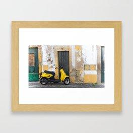 Yellow street Evora Portugal Framed Art Print