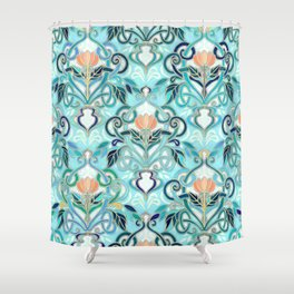 Ocean Aqua Art Nouveau Pattern with Peach Flowers Shower Curtain