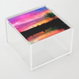 Watercolor January Texas Sunrise Acrylic Box