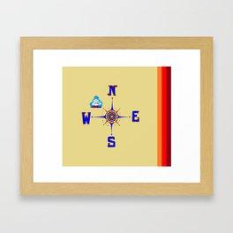 A Nautical Compass Rose with Ship Framed Art Print