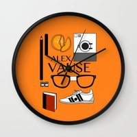 alex vause Wall Clocks featuring Alex Vause Poster by Zharaoh