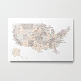 Brown USA map with states and cities Metal Print