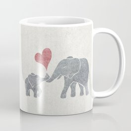 Elephant Hugs with Heart in Muted Gray and Red Coffee Mug
