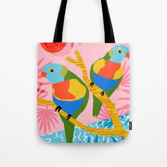 Besties - retro throwback memphis bird art pattern bright neon pop art abstract 1980s 80s style mini Tote Bag