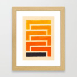 Orange & Black Geometric Pattern Framed Art Print