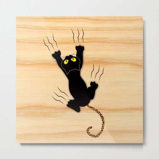 Cat Climbing Metal Print