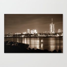 Tulsa Downtown Skyline River View - Sepia Edition Canvas Print