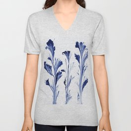 Painted Flowers In Blue Unisex V-Neck