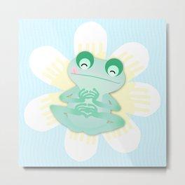Frog and flowers Metal Print