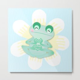 Frog and flowers Metal Print