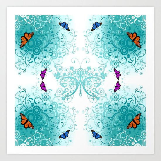 Butterfly and Floral 1  Art Print