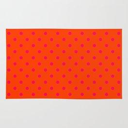 Orange Pop and Hot Neon Pink Polka Dots Rug