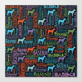 Basenji Word Art pattern Canvas Print