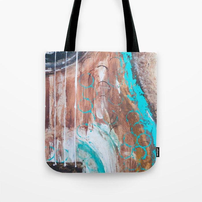 teal and brown acoustic guitar Tote Bag