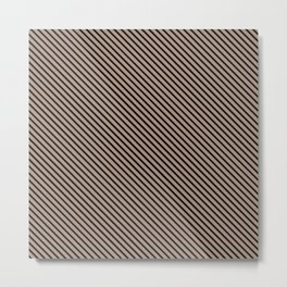 Warm Taupe and Black Stripe Metal Print