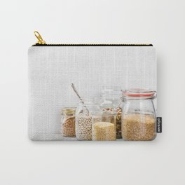 grains, legumes and nuts on concrete background Carry-All Pouch