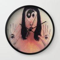 third eye Wall Clocks featuring Third Eye by Isaak_Rodriguez