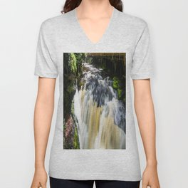 Blurred Lower Gorge Falls Unisex V-Neck