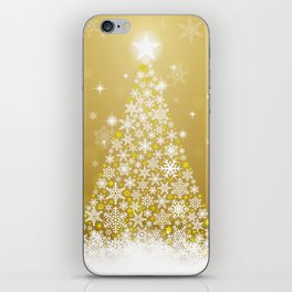 Gold Snowflakes Sparkling Christmas Tree iPhone Skin