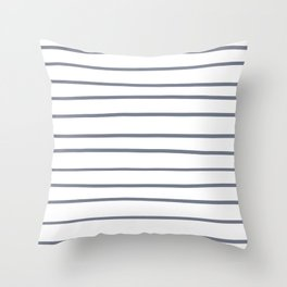 Hazy Blue - Seattle Haze Blue Gray - Twinkle Twinkle Hand Drawn Horizontal Lines on Throw Pillow
