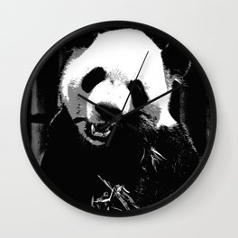 Cute Giant Panda Bear with tasty Bamboo Leaves Wall Clock