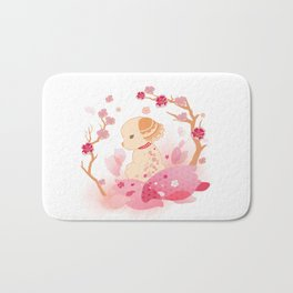 Sweet minimalist dog sakura Bath Mat