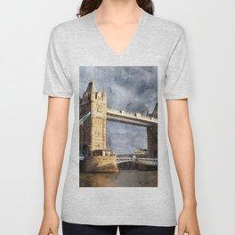 London, Tower Bridge  Unisex V-Neck
