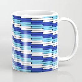 Staggered Oblong Rounded Lines Blues and White - Stripe Pattern Coffee Mug