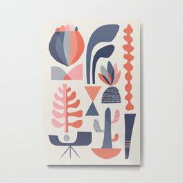 Mid century Succulents Metal Print