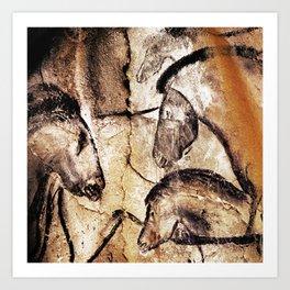 Facing Horses // Chauvet Cave Art Art Print