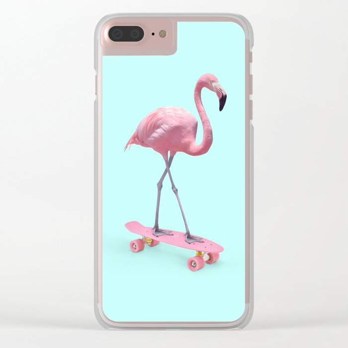 SKATE FLAMINGO Clear iPhone Case