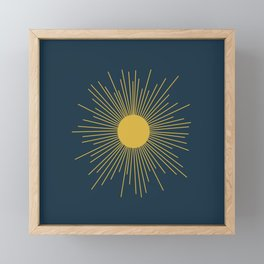 Mid-Century Modern Sunburst II in Light Mustard and Navy Blue Framed Mini Art Print