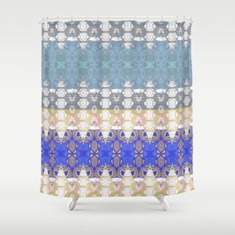 Sweet Lovely Intricate Boho Blues Lace Detail Shower Curtain