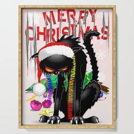 Evil Black Cat VS Christmas Tree Serving Tray