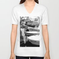 boats V-neck T-shirts featuring boats by habish
