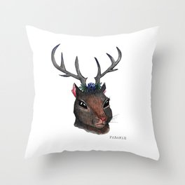 Majestic Squirrel With Antlers Throw Pillow