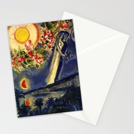 Lovers in the sky over Nice, France by Marc Chagall Stationery Cards