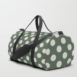 Large Polka Dots in Cream on Olive Green Duffle Bag