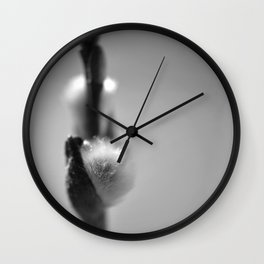 Spring art print with pussy willow Wall Clock