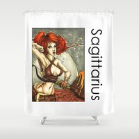sagittarius Shower Curtains featuring Sagittarius by TammyWitzens