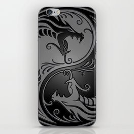 Gray and Black Yin Yang Dragons iPhone Skin