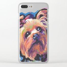 Yorkie Yorkshire Terrier Dog Portrait Pop Art painting by Lea Clear iPhone Case
