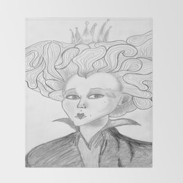 Queen of Hearts from Alice in Wonderland Original Pencil on Paper Throw Blanket