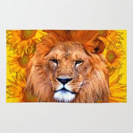 YELLOW TAWNY AFRICAN LION & GOLDEN SUNFLOWERS Rug